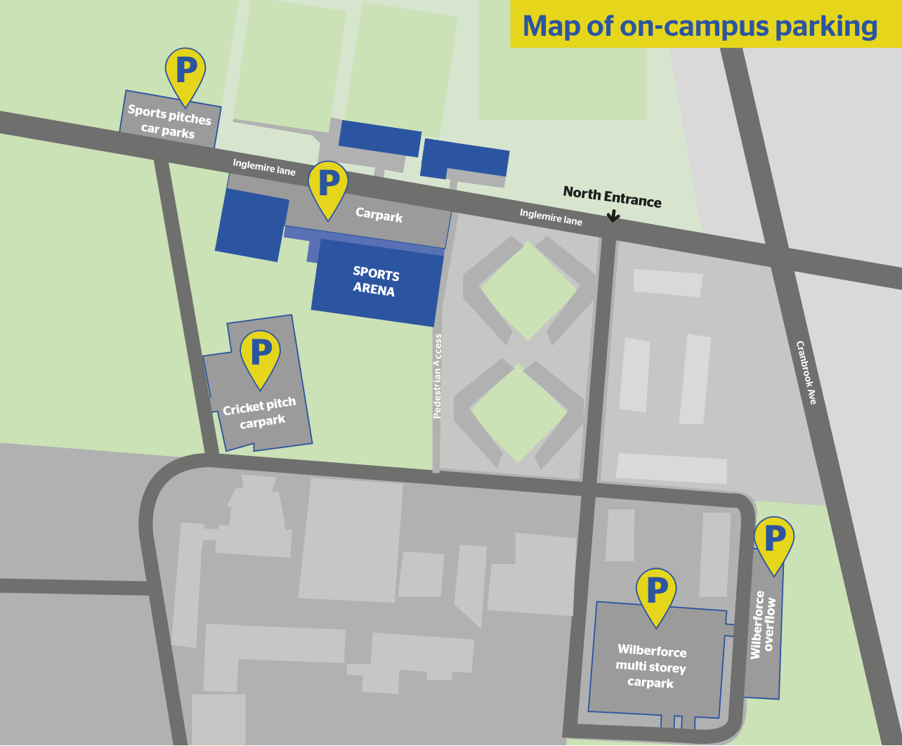 Map of campus parking