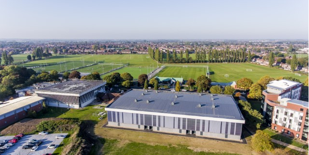 Drone footage of Sports building